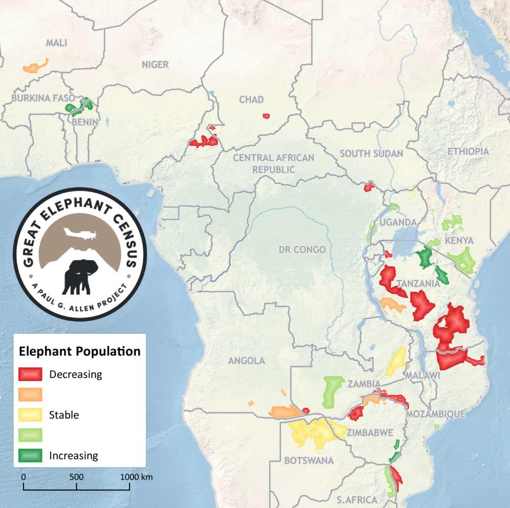 mapa elefantes africanos