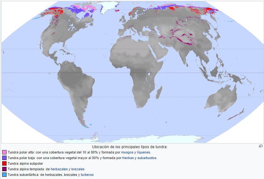 ubicación de la tundra