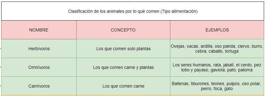 clasificación animales por el tipo alimentación
